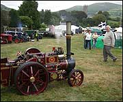 A steam traction engine at Widecombe Fair