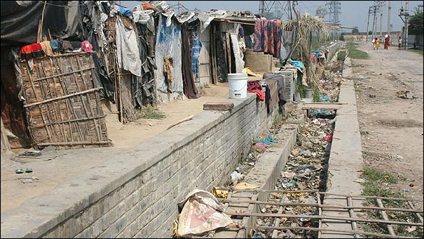 The shanty-town suburb Bawana, two hours outside Delhi