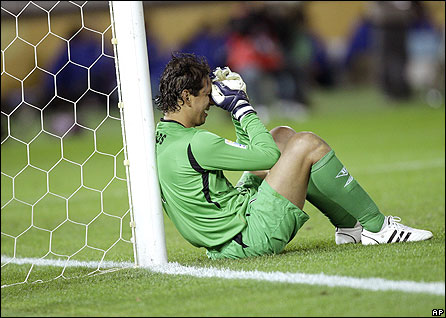 Quito goalkeeper Jose Cevallos is devastated at his side's defeat