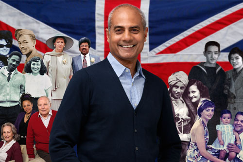 George Alagiah in front of a Union Jack flag and montage of contributors to the Mixed Britannia series