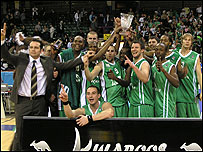 The Raiders show off the BBL trophy