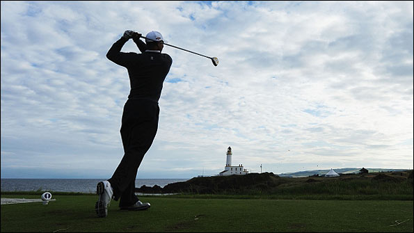 Tiger Woods practices at Turnberry