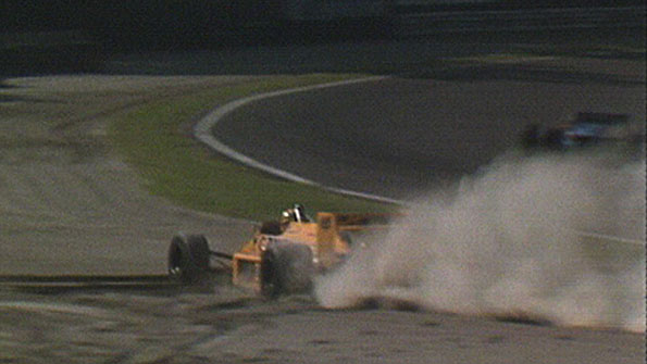 Ayrton Senna loses the lead of the 1987 Italian Grand Prix by sliding off into the gravel at Parabolica