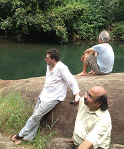 Twm Morys, Robert Minhinnick and K Satchidanandan. Photo: India Wales Writers Chain
