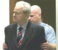 Slobodan Milosevic arrives at the UN War Crimes Tribunal in The Hague, 2000