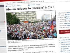 BBC News story Obama refuses to 'meddle' in Iran