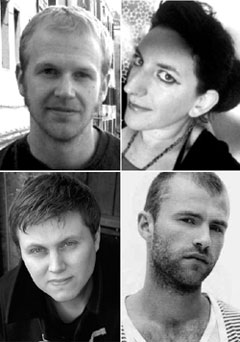 Bright Young Things authors (clockwise from top left:): Tyler Keevil, Susie Wild, Wil Gritten and J.P. Smythe