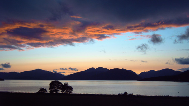 The sun setting over Loch Linnhe