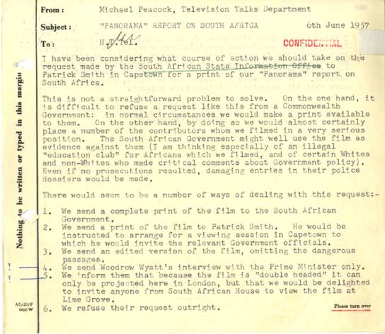 A memorandum on the 'Panorama' report on South Africa in 1957.