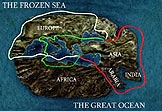 Graphic of map showing the ancient Greek view of how Jason might have returned home