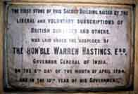 Photograph showing a stone laid by the Honourable Warren Hastings