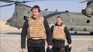 David Cameron and Liam Fox in Afghanistan in 2009