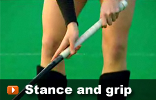 player showing the stance grip