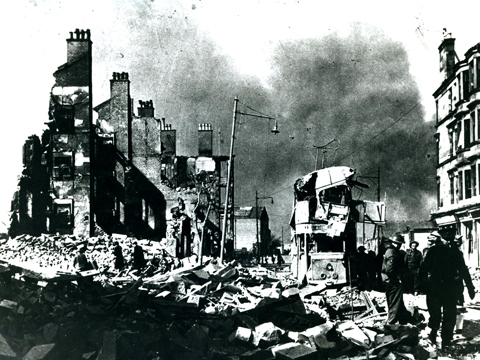 Black and white view of air raid destruction to Dumbarton Road in Dalmuir.