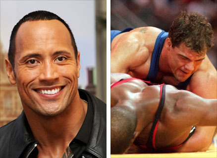 The Rock, left, and Kurt Angle during the 1996 Olympic Games
