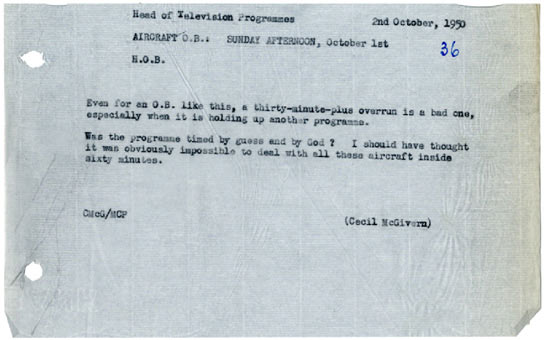 A memo from the Head of Television in 1950.