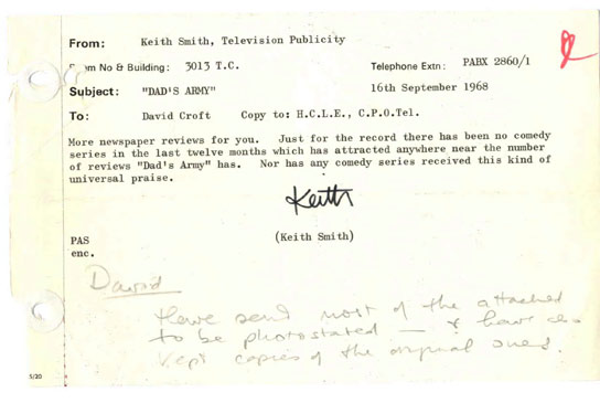 Bbc - Archive - Dad'S Army At 40 - Bbc Publicity Memo On 'Dad'S Army'