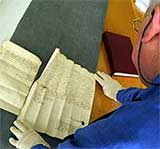 Image of Peter Shakeshaft studying a document