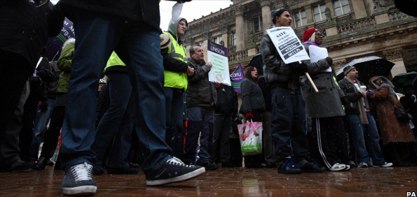 Council workers protesting at proposed cuts at Birmingham City Council