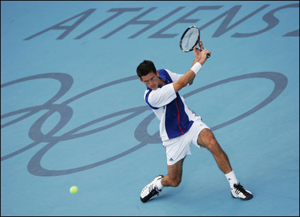 Tim Henman competing at Athens 2004