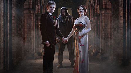 Victor (Andrew Gower), the Creature (David Harewood) and Elizabeth (Lacey Turner) at Kirkstall Abbey