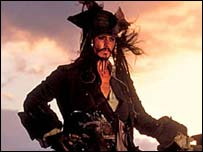 Actor Johnny Depp in Pirates of the Caribbean