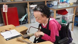 Liz Carr solders her made-to-measure wedding ring