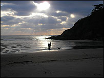 Walkers on the beach at Mothecombe