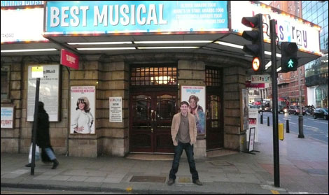 Dominic Shaw outside the Shaftsbury theatre
