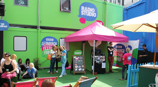 The radio studio and the green screen