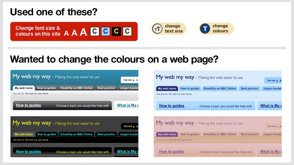 Examples of changing web page styling for accessibility.
