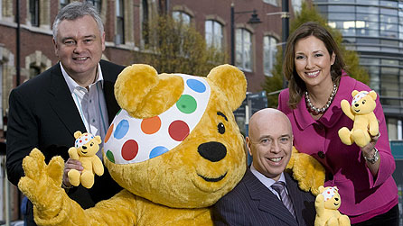 Gearing up for this year's BBC Children in Need Appeal on Friday 20 November are Pudsey Bear with (l-r) Eamonn Holmes John Daly and Claire McCollum, who will all be presenting the show live from the Kings Hall, Belfast, on BBC One Northern Ireland from 7.00pm.