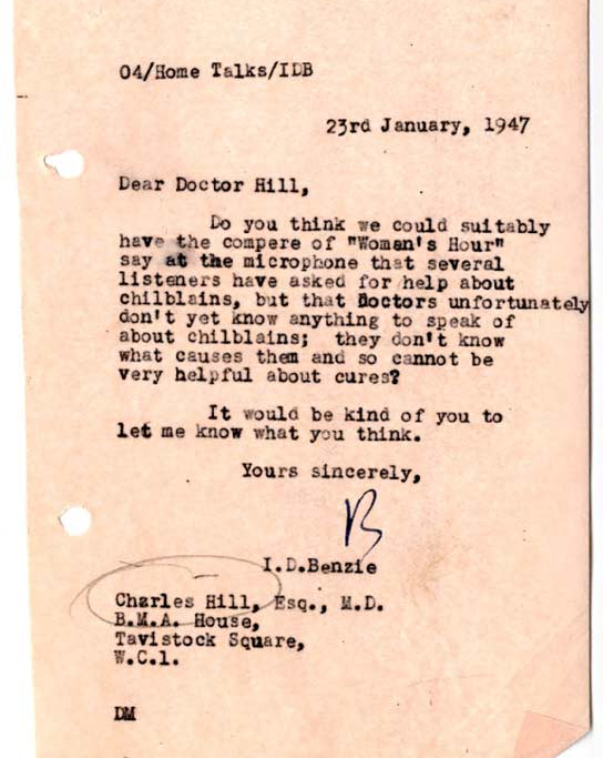 Document asking whether the BBC should admit that doctors can't help chillblains.