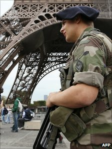 Soldier by the Eiffel Tower
