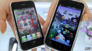 Apple iPhone and Samsung Galaxy phone