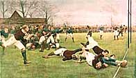 Colour illustration showing a game of rugby at the moment of a try