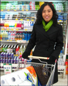 Mrs Youm in the supermarket