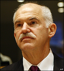 Greek PM George Papandreou in Brussels, 18 Mar 10