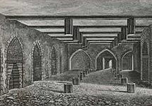 Drawing of the lower ground floor vault of the House of Lords where the gunpowder was stored