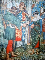 An artists impression of King Richard I joining Robin Hood to Maid Marian in marriage. The marriage in Sherwood Forest of Robin Hood and Maid Marian in the presence of King Richard I is traditionally held to have occurred at St. Mary's Church in Edwinstowe, but is supported by no historical evidence outside ballards and stories.