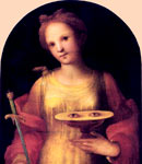Saint Lucy depicted holding a dagger and a dish containing a pair of eyes