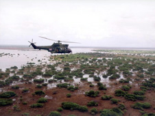 Helicopter carrying British aid across flood water, Mozambique