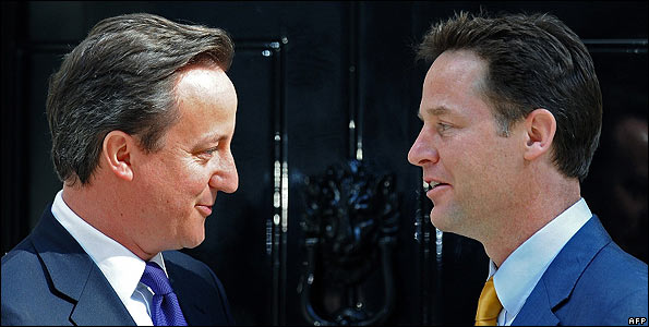 Britain's new Prime Minister David Cameron (left) and new Deputy Prime Minister Nick Clegg