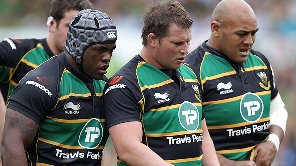 Northampton's front row - from left - of Brian Mujati, Dylan Hartley and Soane Tonga'uiha - pack down