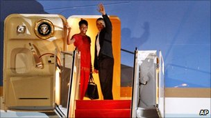 President Obama and Michelle Obama boarding their plane to Europe