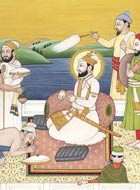 Painting of Guru Hargobind and followers