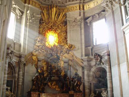 Inside Saint Peter's Basilica, an elaborate monument in bronze and surrounded by sculpture marks where Saint Peter used to sit