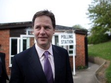 nick clegg outside a polling station