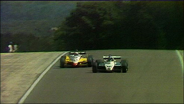Keke Rosberg's Williams takes the lead from Alain Prost's Renault during the 1982 Swiss Grand Prix