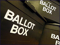 A number of ballot boxes